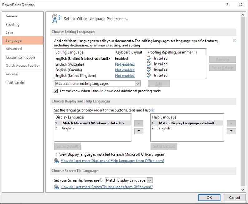 Prepare for a multi-language powerpoint presentation